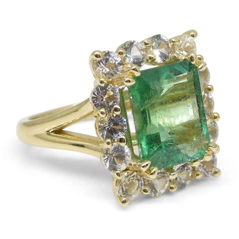 4.00ct Emerald & White Sapphire Ring set in 14kt Yellow Gold