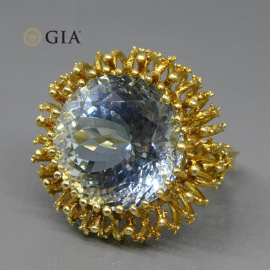 12.60ct GIA Certified Aquamarine Solitaire Ring in 18kt Yellow Gold - Skyjems Wholesale Gemstones