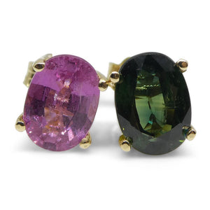 2.25ct Mismatch Teal and Pink Sapphire Stud Earrings in 14kt Yellow Gold - Skyjems Wholesale Gemstones
