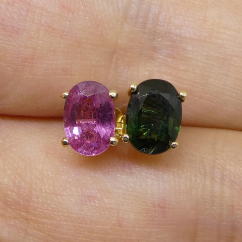 2.25ct Mismatch Teal and Pink Sapphire Stud Earrings in 14kt Yellow Gold