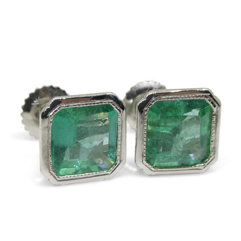 3.15ct Square Emerald Stud Earrings set in Platinum