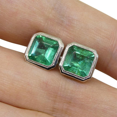 3.15ct Square Emerald Stud Earrings set in Platinum - Skyjems Wholesale Gemstones