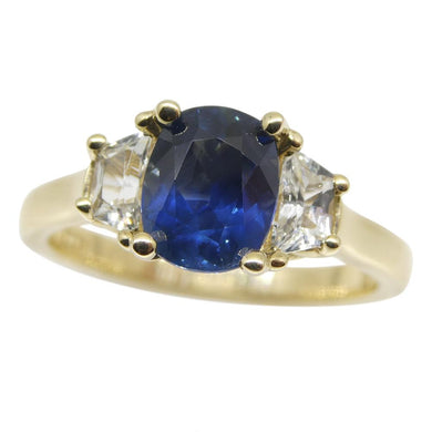 1.62ct Blue & White Sapphire Ring set in 14kt Yellow Gold, CGL-GRS Certified
