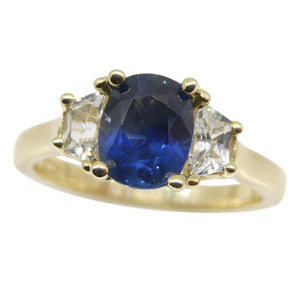 1.62ct Blue & White Sapphire Ring set in 14kt Yellow Gold, CGL-GRS Certified - Skyjems Wholesale Gemstones
