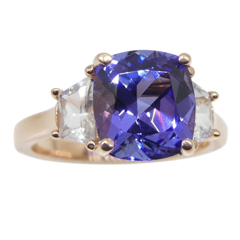 3.08ct Tanzanite and White Sapphire Ring set in 14kt Pink / Rose Gold