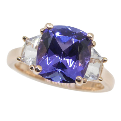3.08ct Tanzanite and White Sapphire Ring set in 14kt Pink / Rose Gold - Skyjems Wholesale Gemstones