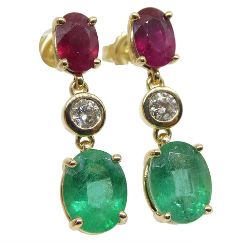 4.18ct Emerald, 2.19ct Ruby and 0.31ct Diamond Earrings in 14kt Yellow Gold