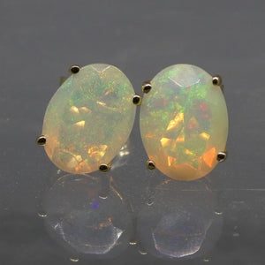 Opal Earrings set in 14kt Yellow Gold - Skyjems Wholesale Gemstones