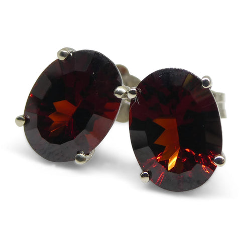 Almandine Garnet Earrings set in 14kt White Gold