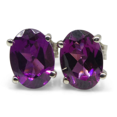 Rhodolite Garnet Earrings set in 14kt White Gold - Skyjems Wholesale Gemstones