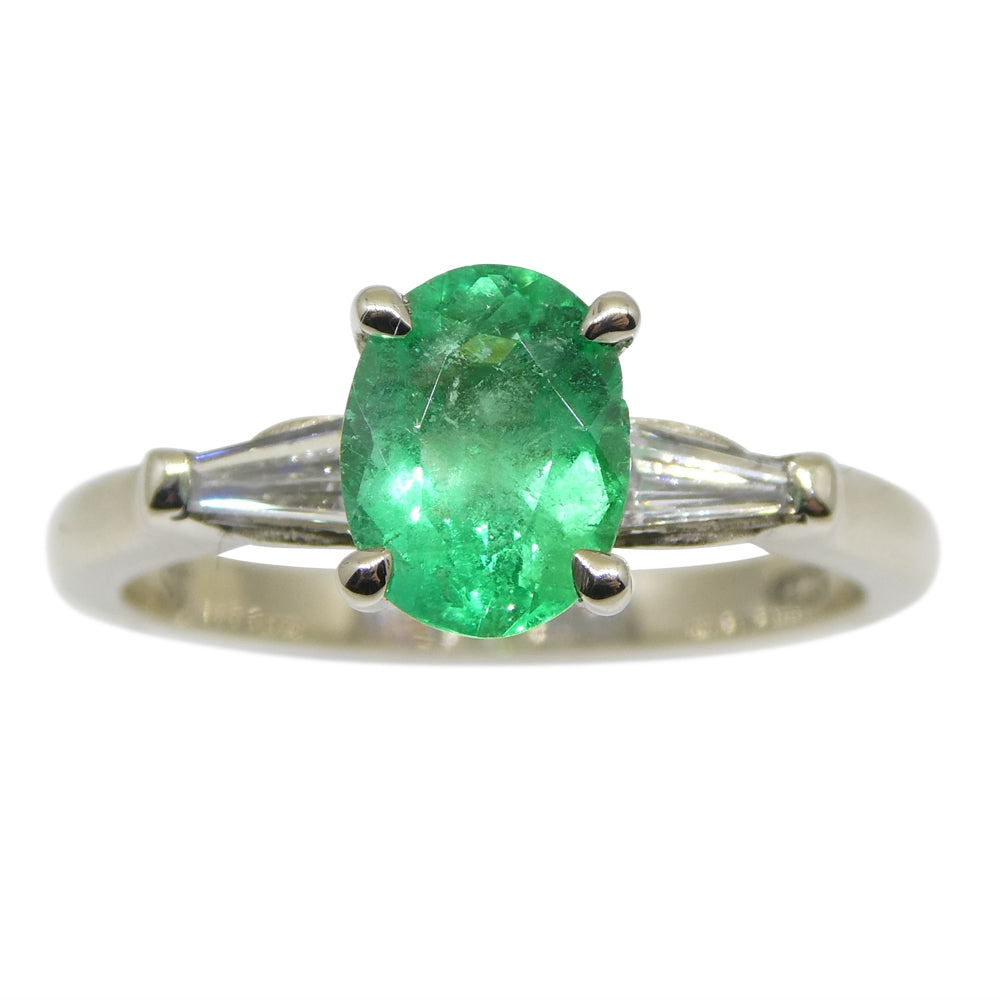 0.94ct Colombian Emerald & 0.18ct Diamond Ring in 18kt White Gold