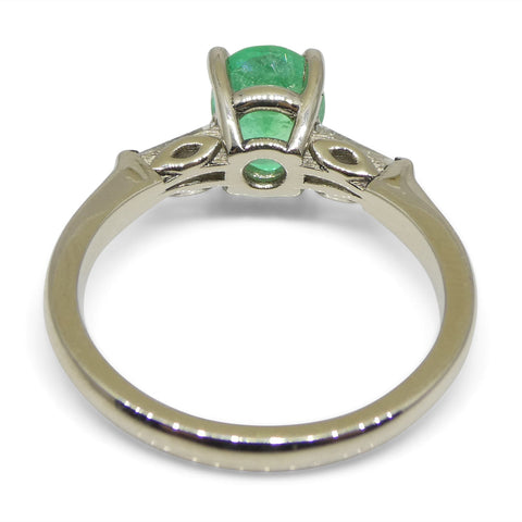 0.94ct Colombian Emerald & 0.18ct Diamond Ring in 18kt White Gold with Certificate