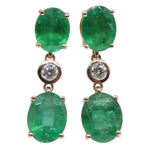 8.62ct Russian Emerald, 0.31ct Diamond Earrings in 14kt Rose/Pink Gold - Skyjems Wholesale Gemstones