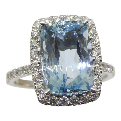 One of a Kind Fine Quality 4.57ct Aquamarine and Diamond Ring in 18k White Gold