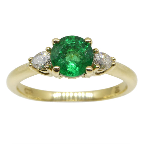 Emerald & Diamond Three Stone Ring in 18kt Yellow Gold