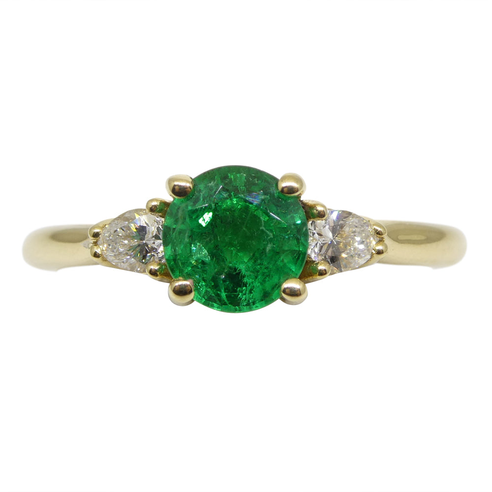 0.81ct Emerald & 0.19ct Diamond Three Stone Ring in 18kt Yellow Gold