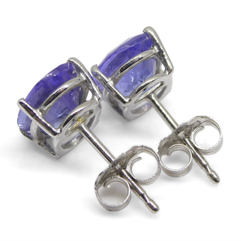 3.17ct Tanzanite Stud Earrings in 14kt White Gold