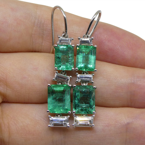 7.80ct Emerald, 1.80ct White Sapphire Earrings in 14kt White Gold