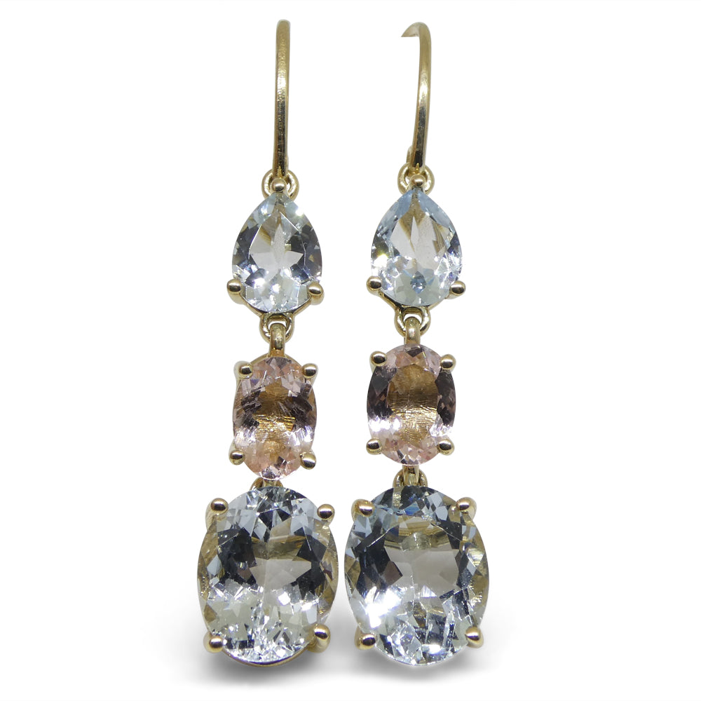 5.76ct Aquamarine, 1.20ct Morganite Earrings set in 14kt Yellow Gold