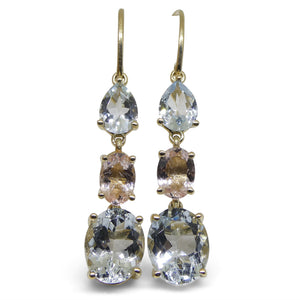 5.76ct Aquamarine, 1.20ct Morganite Earrings set in 14kt Yellow Gold - Skyjems Wholesale Gemstones