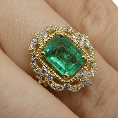 1.84ct Emerald & 0.50ct Diamond Filigree Ring in 18kt Yellow Gold