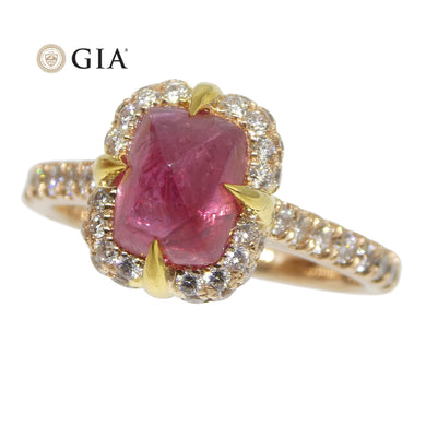 2.14ct Sugar Loaf Ruby & 0.50ct Diamond Ring in 18kt Pink & Yellow Gold GIA Certified - Skyjems Wholesale Gemstones