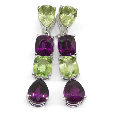 10ct Rhodolite, 10ct Mint Garnet Earrings set in 14kt White Gold - Skyjems Wholesale Gemstones