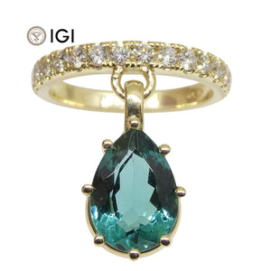 2.49ct Lagoon Blue Tourmaline IGI Certified & 0.50ct Diamond Charm Ring in 14kt Yellow Gold - Skyjems Wholesale Gemstones
