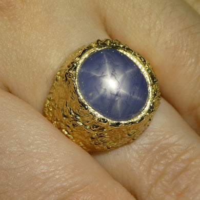 8.08ct Star Sapphire Mountain Ring set in 14kt Yellow Gold - Skyjems Wholesale Gemstones