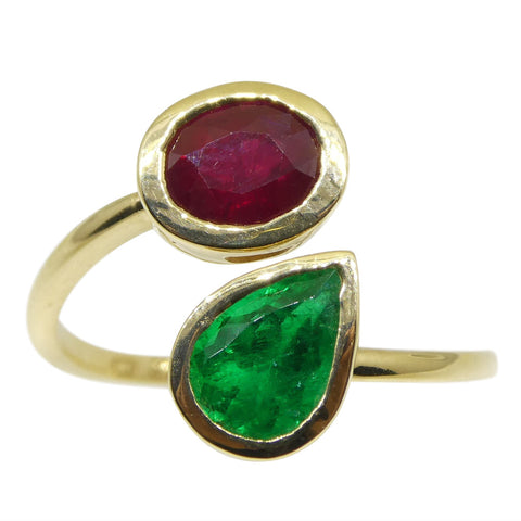 Vivid Red Burmese Ruby & Vivid Green Colombian Emerald 'Toi et Moi' Ring set in 18kt Yellow Gold