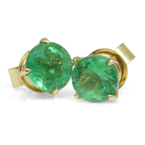 1.48ct Round Emerald Stud Earrings set in 14kt Yellow Gold - Skyjems Wholesale Gemstones
