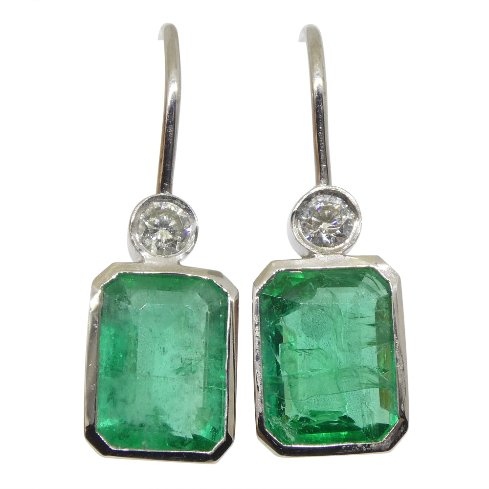 3.08ct Emerald & Diamond Earrings set in 14kt White Gold