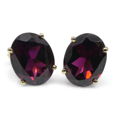 Rhodolite Garnet Earrings set in 14kt Yellow Gold - Skyjems Wholesale Gemstones