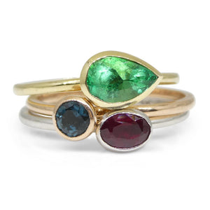 The Annie, Three Stacking Ring Set Emerald, Ruby, Indicolite Tourmaline in 10kt Yellow, White and Pink/Rose Gold - Skyjems Wholesale Gemstones