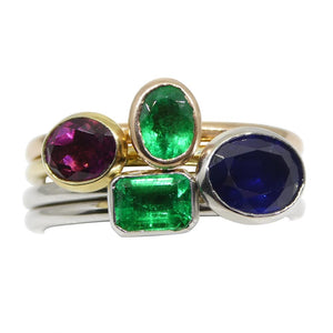 The Mindy, Four Ring Stacking Ring Set: Emerald, Sapphire, Tourmaline in 10kt Yellow, White and Pink/Rose Gold - Skyjems Wholesale Gemstones