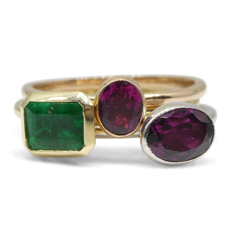 'Sunrise' The Norah Five Stacking Ring Set. Emerald, Tourmaline, Garnet in 10kt Yellow, White and Pink/Rose Gold