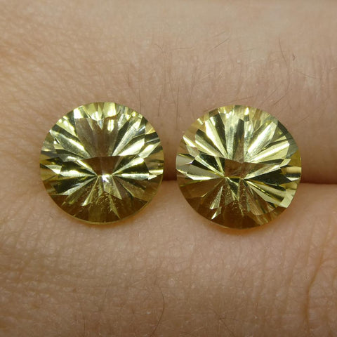 6.14ct Round Lemon Citrine Fantasy/Fancy Cut Pair