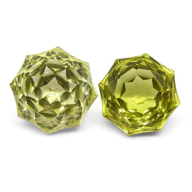 14.45ct Round Lemon Citrine Fantasy/Fancy Cut Pair - Skyjems Wholesale Gemstones