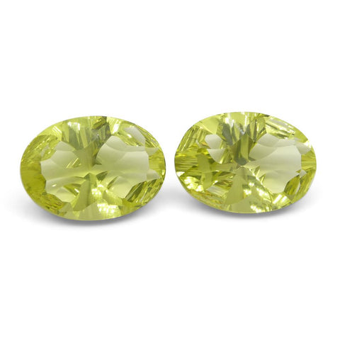10.47ct Oval Lemon Citrine Fantasy/Fancy Cut Pair