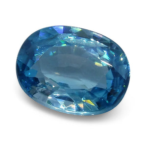 4.10 ct Oval Blue Zircon - Skyjems Wholesale Gemstones