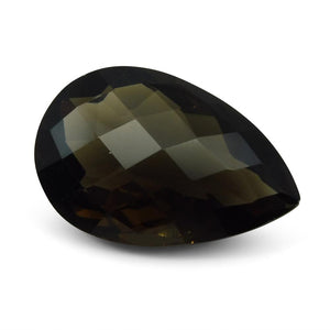 28.23 ct Pear Checkerboard Smoky Quartz