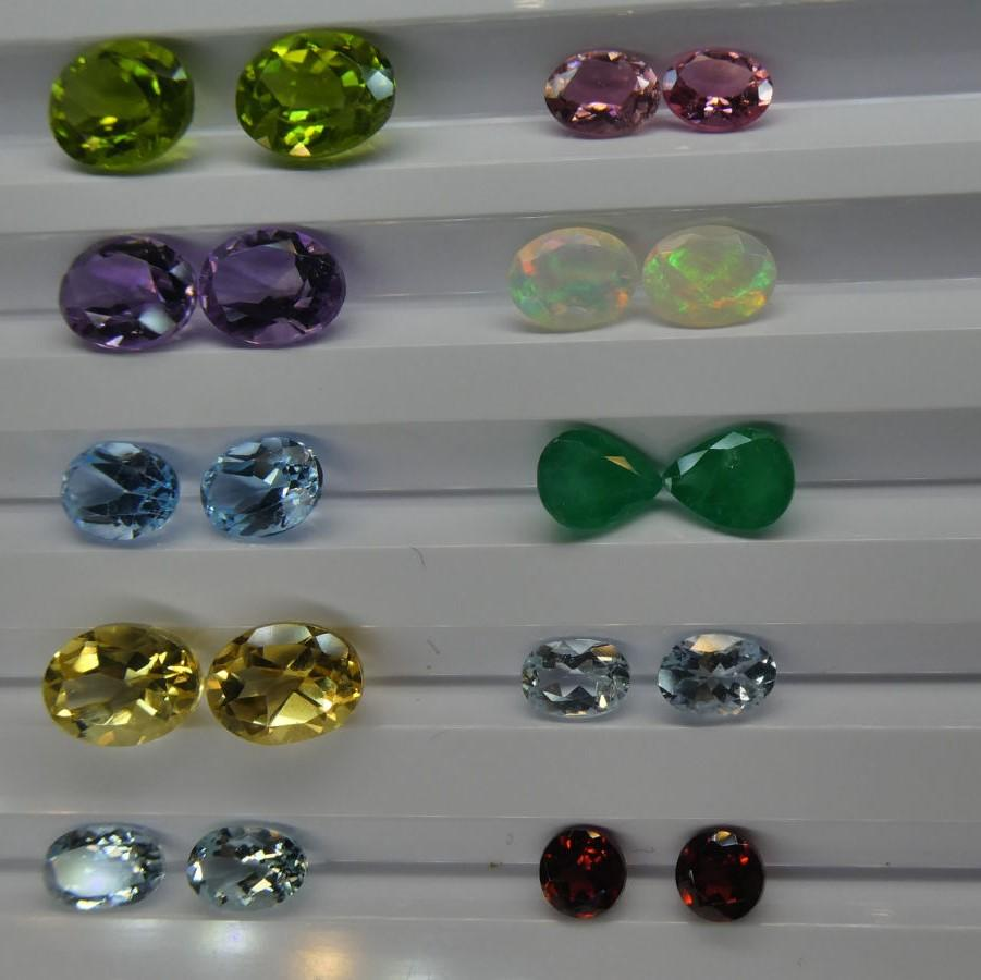 10 Pairs Faceted Gems for Manufacturing: Emerald, Opal, Tourmaline, Peridot, Aquamarine and more! Wholesale Lot.