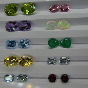 10 Pairs Faceted Gems: Emerald, Opal, Tourmaline, Peridot, Aquamarine and more! Wholesale Lot - Skyjems Wholesale Gemstones