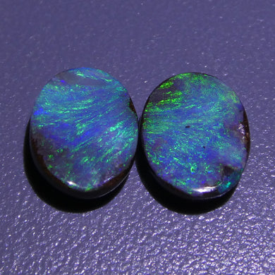3.12ct Boulder Opal Oval Cabochon Pair - Skyjems Wholesale Gemstones