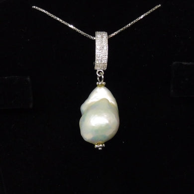 Beautiful Baroque Pearl Pendant With .925 Silver Chain