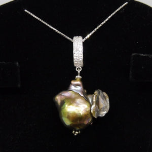 Beautiful Baroque Grey Pearl Pendant With .925 Silver Chain - Skyjems Wholesale Gemstones