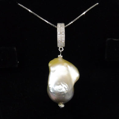 Beautiful Baroque White Pearl Pendant With .925 Silver Chain - Skyjems Wholesale Gemstones