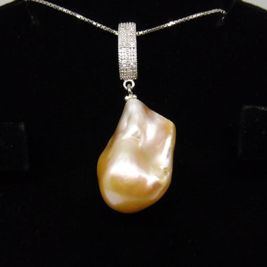 Beautiful Baroque Yellow Pearl Pendant With .925 Silver Chain - Skyjems Wholesale Gemstones