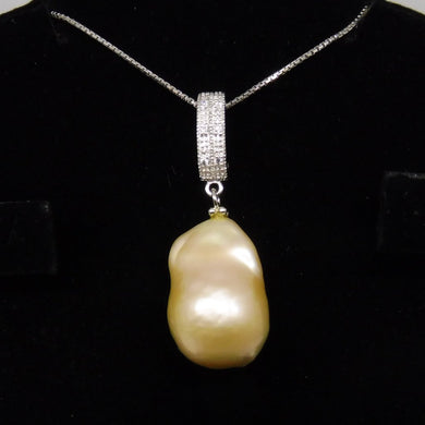 Beautiful Baroque Pearl Pendant With .925 Silver Chain - Skyjems Wholesale Gemstones