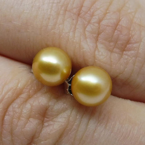 Sterling Silver 5mm Pair Natural Golden Pearl Stud Earrings